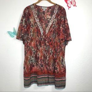 Dress Barn 22/24 gorgeous Sheer embellished  top